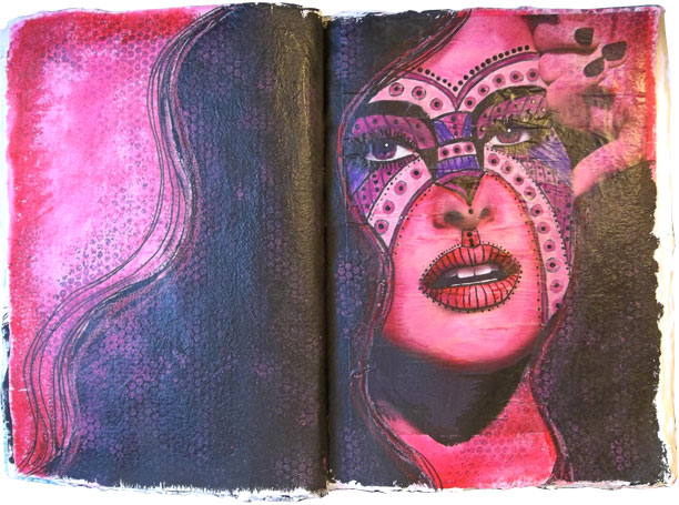 A set of pages from my 15 x 20 inch art journal.