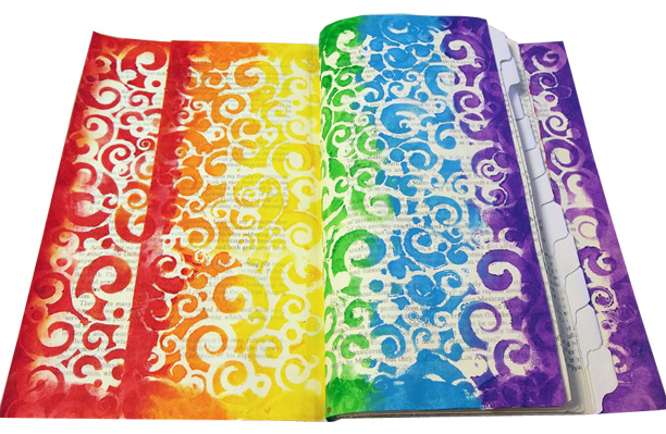 Rainbow Stenciling Across Multiple Pages