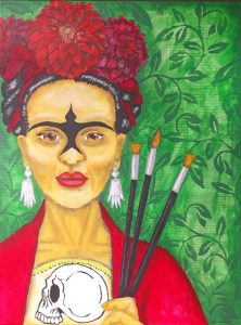 """La Pintora"" was in the Texas Visual Arts Association's ""Frida Kahlo - Without Boundaries"" exhibit. I found out about the show through a local call for art group on Facebook."