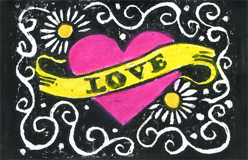 Hand Carved Love  Stamp Postcards