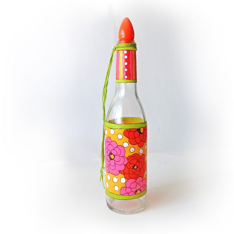 Painted Glass Bottles: Stripes & Flowers